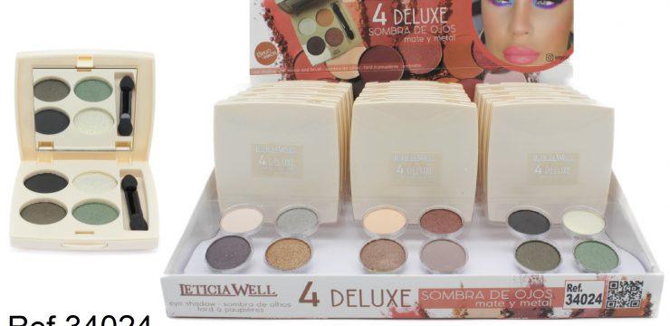 Ref. 34024 Sombra Ojos 4 colores -DELUXE con espejo